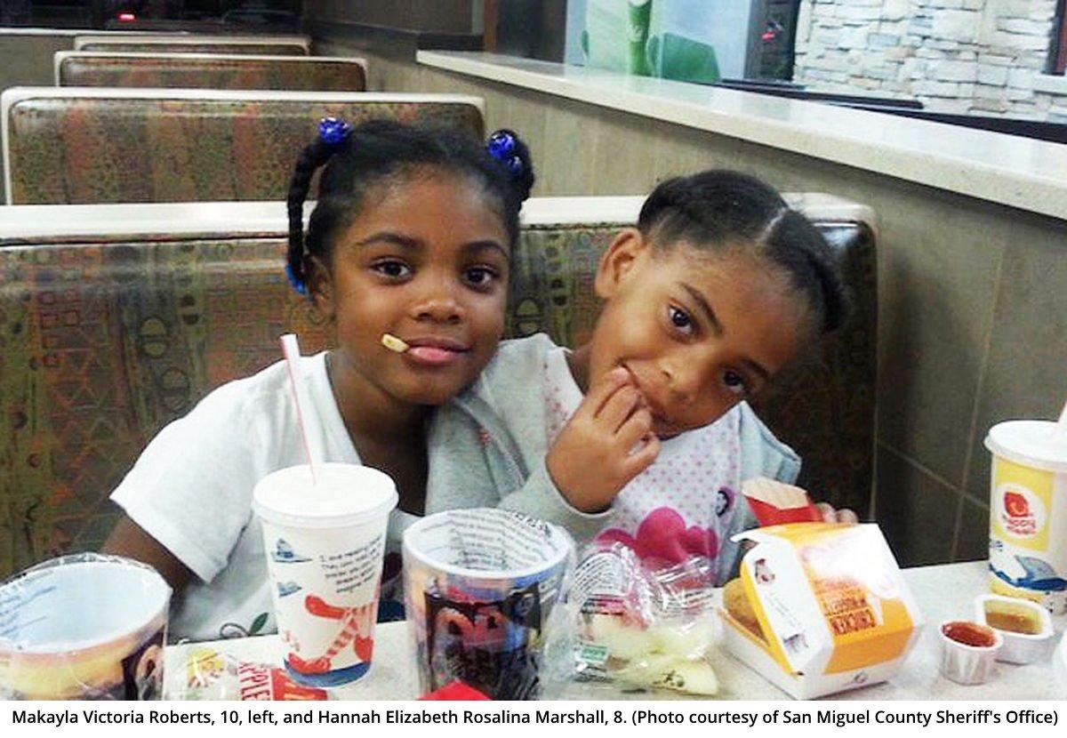 Makayla Victoria Roberts, 10, left, and Hannah Elizabeth Rosalina Marshall, 8.