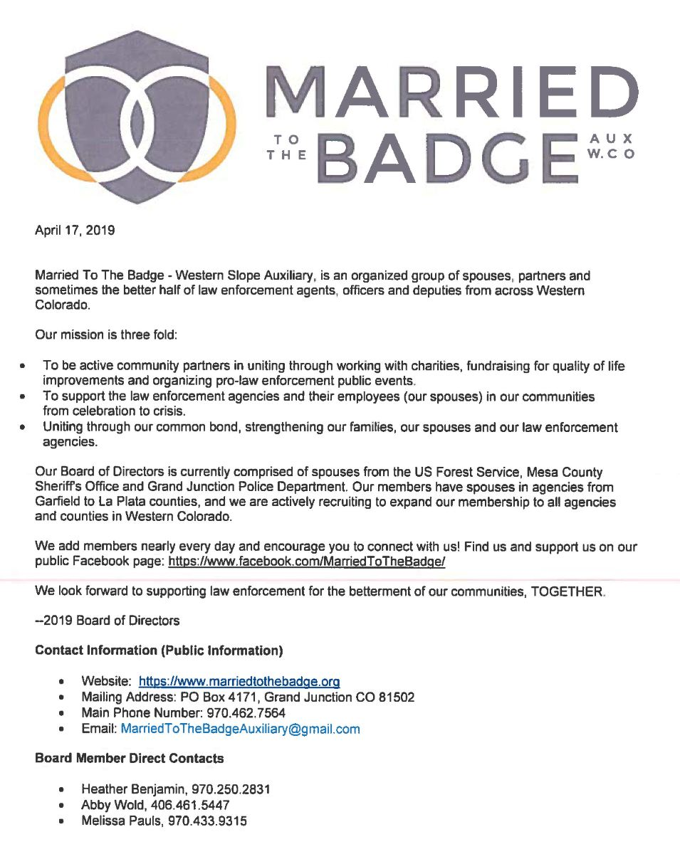Married To The Badge Flyer (click to print or download)