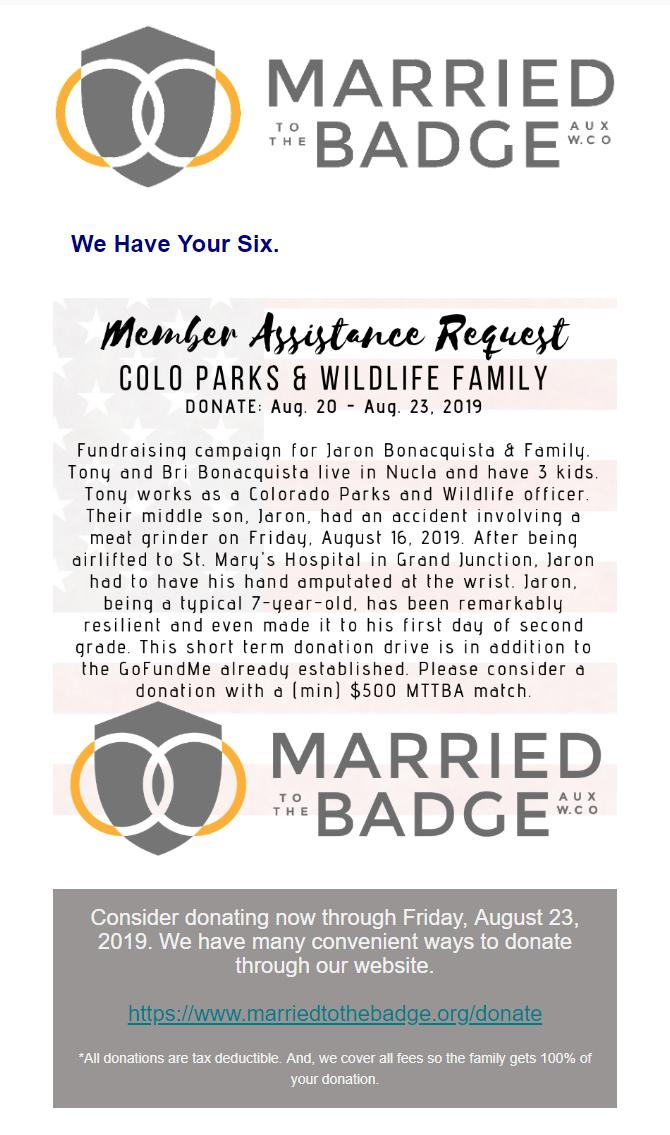 Married To The Badge: Member Assistance Request