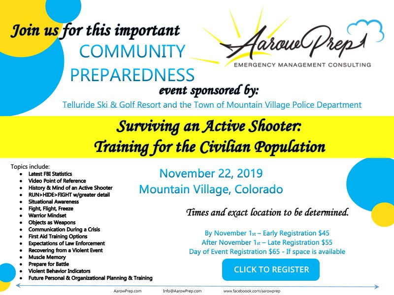 Surviving An Active Shooter: Training For The Civilian Population | Mountain Village | November 22, 2019