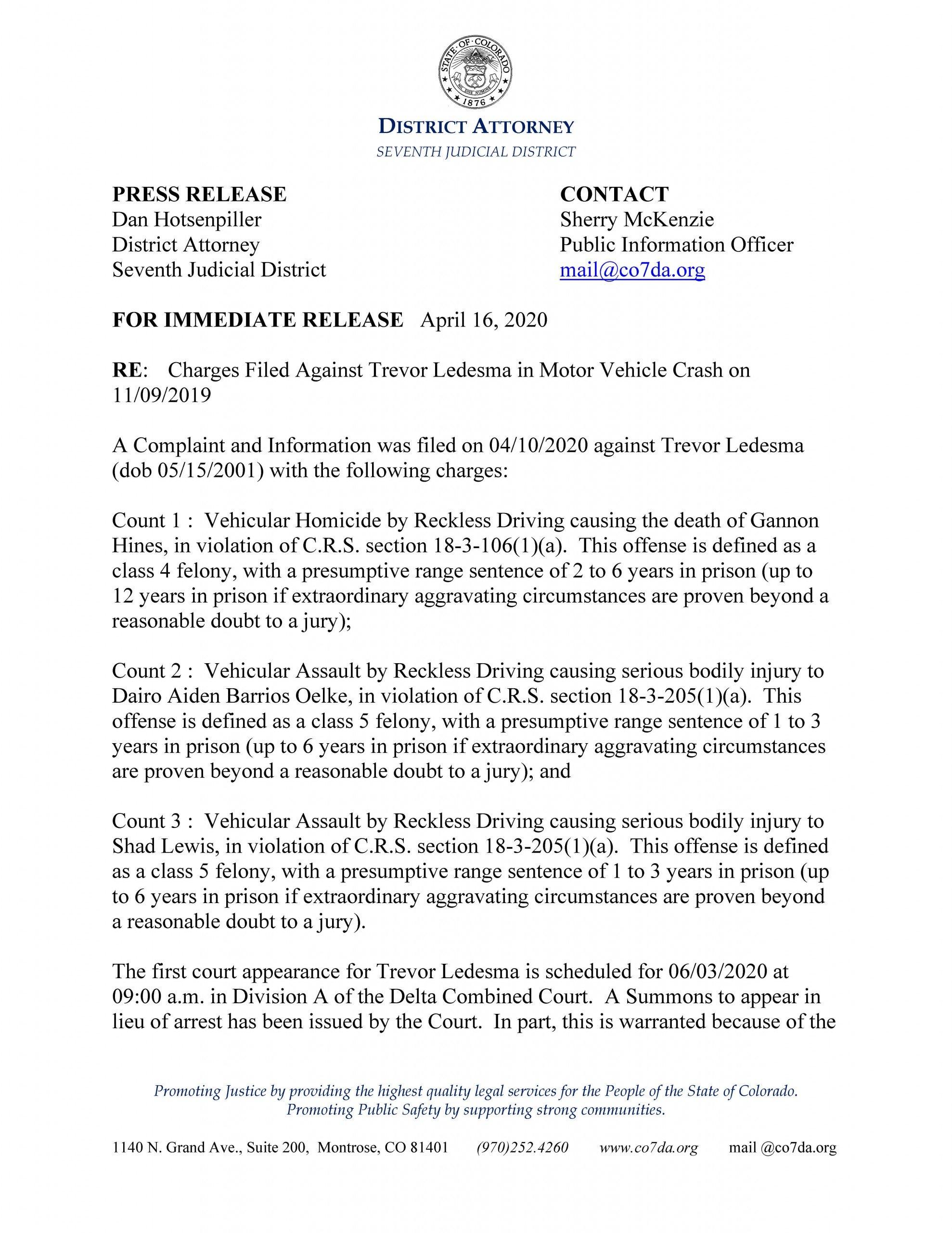 Trevor Ledesma Press Release (page 1)