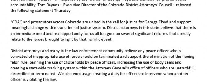 Official Statement: Colorado DAs Call for Justice for George Floyd and Meaningful Reforms