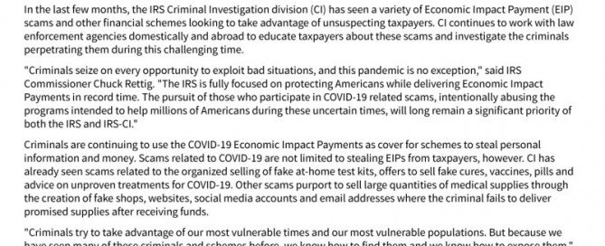 IRS warns against COVID-19 fraud | Page 1
