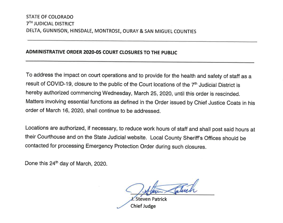 Administrative Order 2020-05 Court Closures To The Public